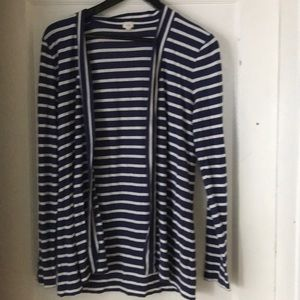 J CREW open front striped cardigan